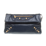 Balenciaga Navy Lambskin Gold Giant 12 Envelope Clutch with Shoulder Stap