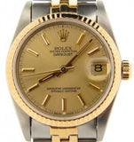 Pre Owned Mid Size Rolex Two-Tone Datejust with a Gold Champagne Dial 68273