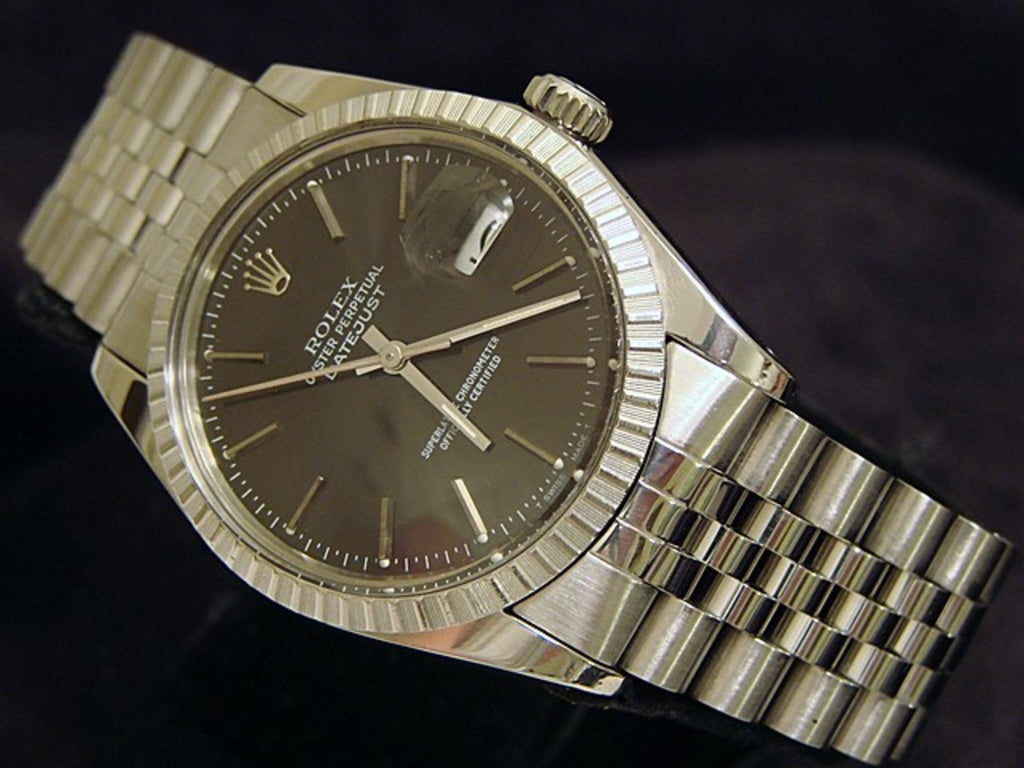 Pre Owned Mens Rolex Stainless Steel Datejust with a Slate Dial 16030