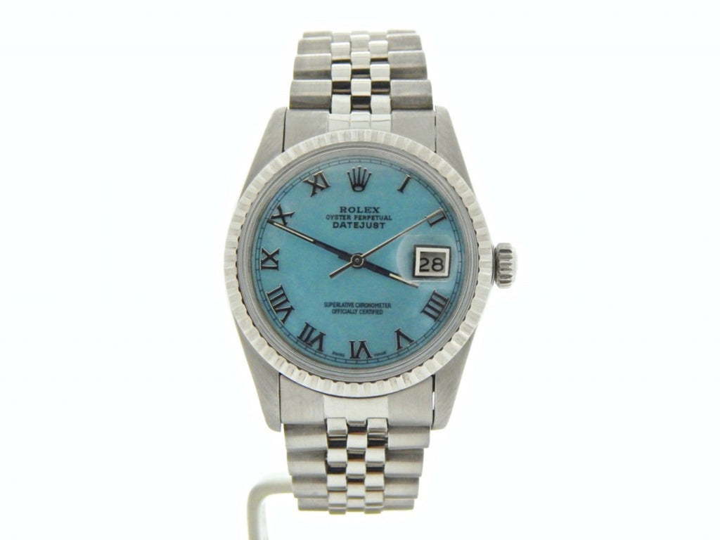Pre Owned Mens Rolex Stainless Steel Datejust with a Blue MOP Roman Dial 16030