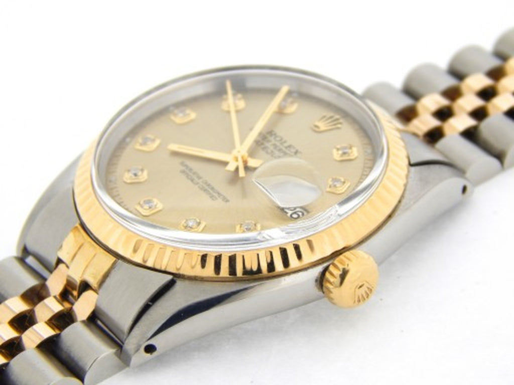 Pre Owned Mens Rolex Two-Tone Datejust with a Gold Diamond Dial 1601