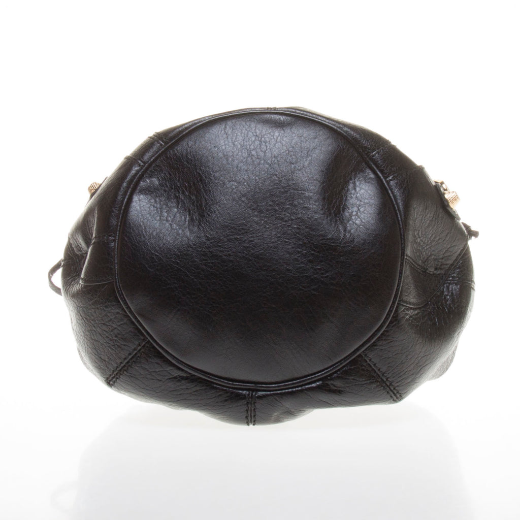 Balenciaga Black Lambskin Gold Giant 12 Mini Pom Pon Handbag