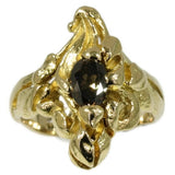 Art Nouveau Brown Diamond and Gold Floral Ring From France
