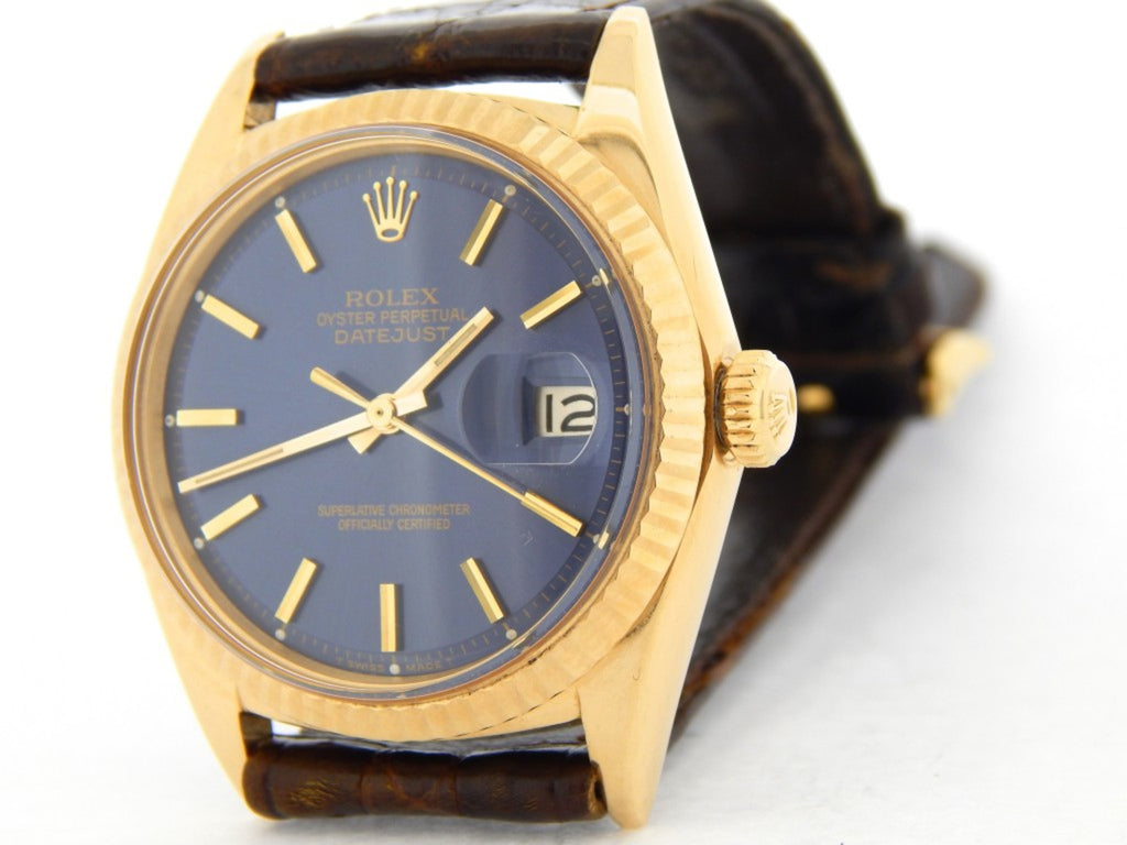 Pre Owned Mens Rolex Yellow Gold Datejust with a Blue Dial 1601