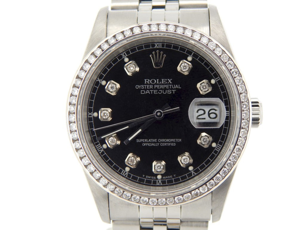 Pre Owned Mens Rolex Stainless Steel Datejust Diamond Black 16220