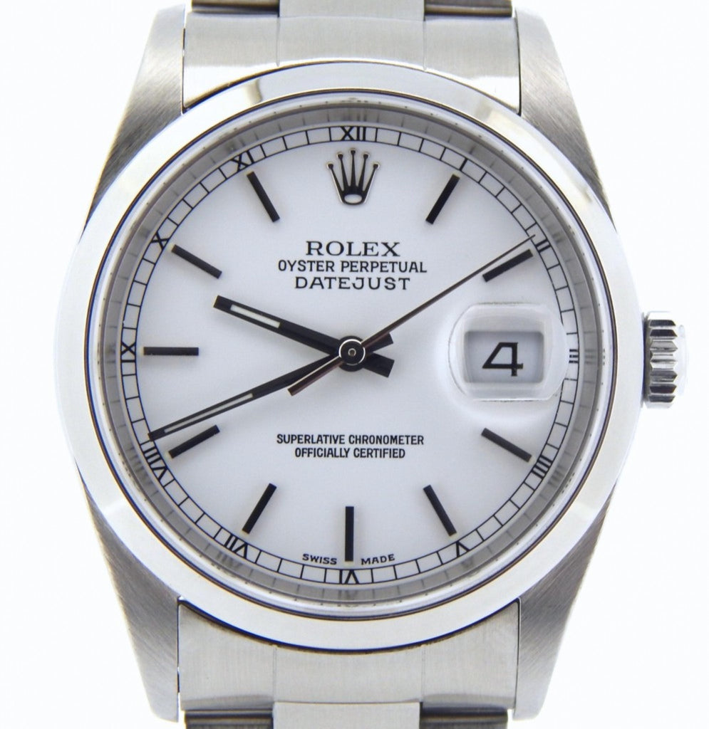 Pre Owned Mens Rolex Stainless Steel Datejust with a White Dial 16200