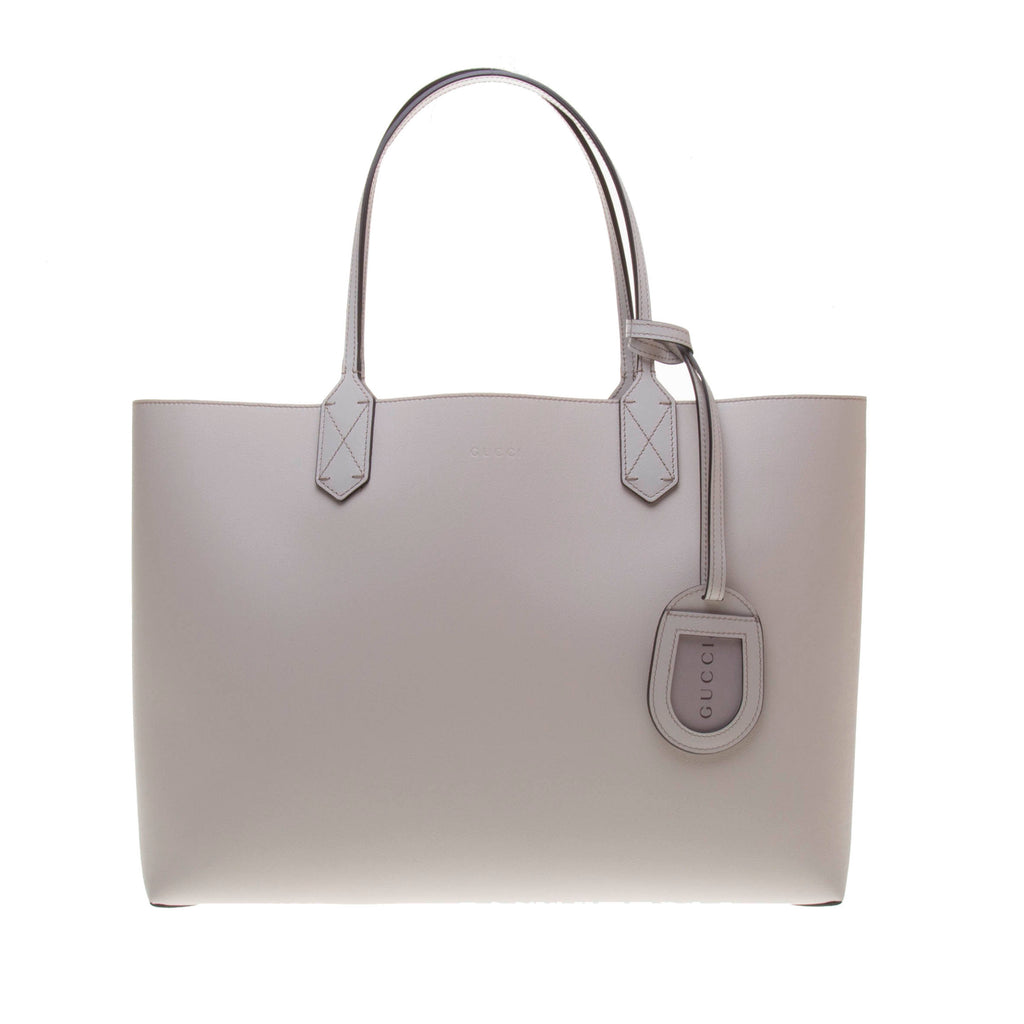 Gucci 368568 Beige Leather / Ebony GG Supreme Canvas Reversible Large Tote Bag