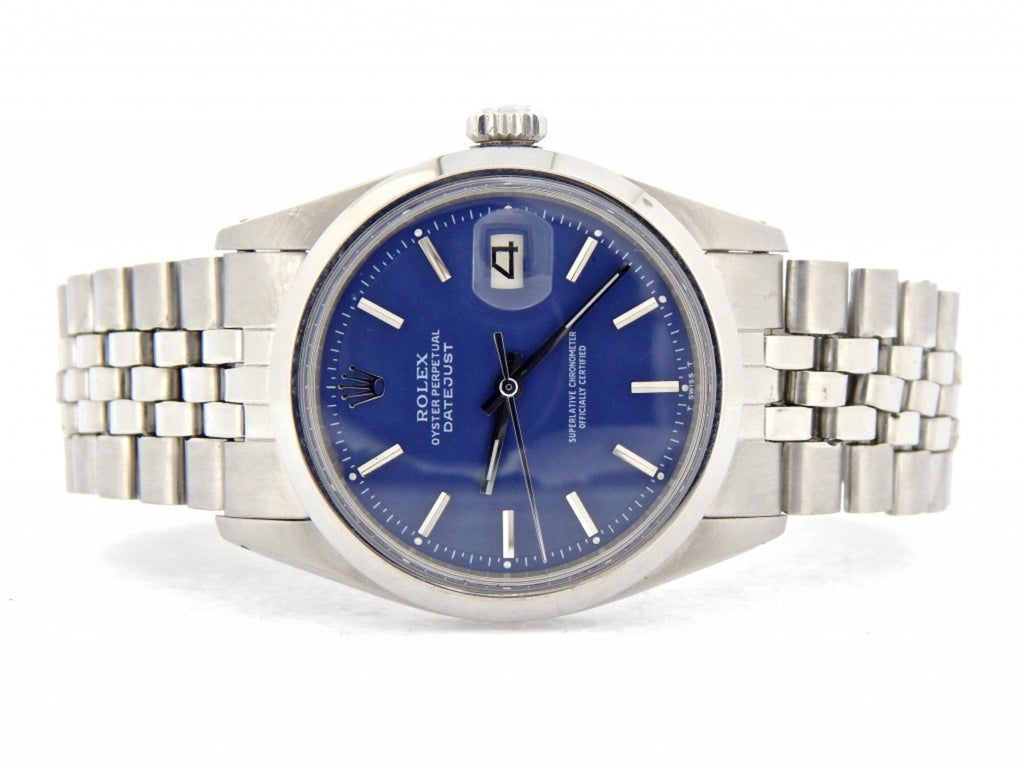 Pre Owned Mens Rolex Stainless Steel Datejust with a Blue Dial 1600