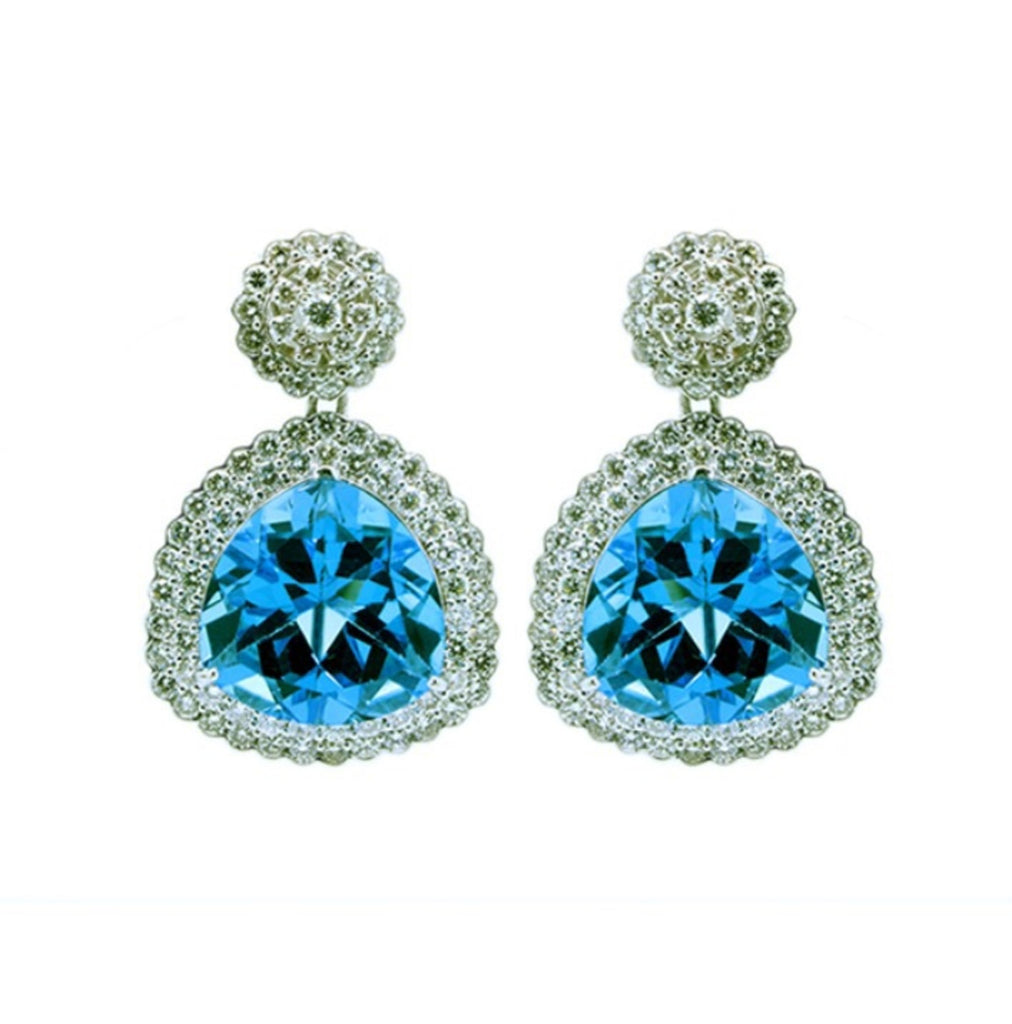 Blue Topaz Earrings Detachable