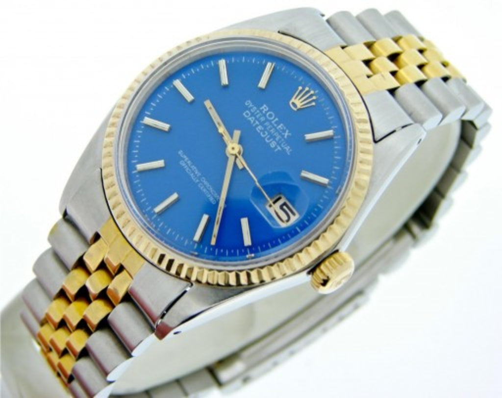 Pre Owned Mens Rolex Two-Tone Datejust with a Blue Dial 1601