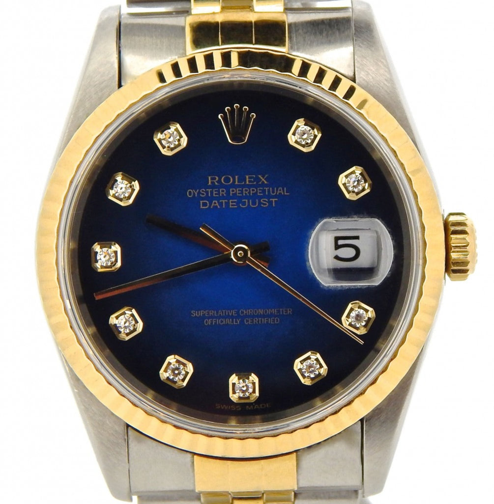Pre Owned Mens Rolex Two-Tone Diamond Datejust with a Blue Dial 16233
