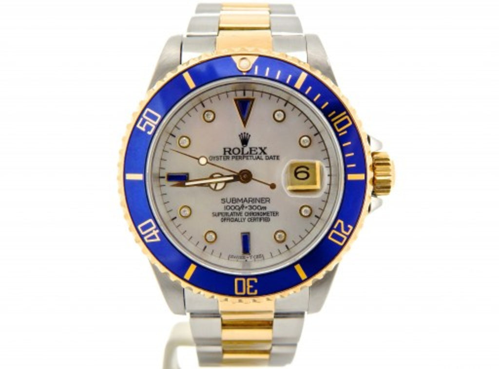 PRE OWNED MENS ROLEX TWO-TONE SUBMARINER DATE WITH A SERTI DIAL 16803
