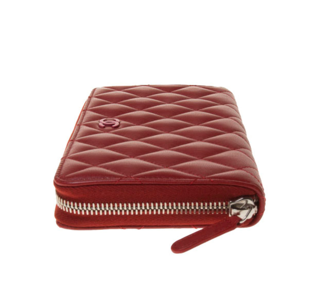 Chanel Red Lambskin Quilted Zip Around Long Wallet