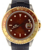 PRE OWNED MENS ROLEX TWO-TONE GMT-MASTER II ROOT BEER WITH A BROWN DIAL 16713