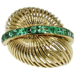 60s gold estate ring with emeralds
