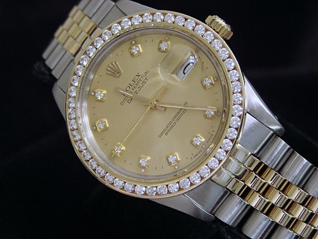 Pre Owned Mens Rolex Two-Tone Datejust Diamond Champagne 16013