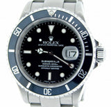 PRE OWNED MENS ROLEX STAINLESS STEEL SUBMARINER DATE WITH A BLACK DIAL 16610