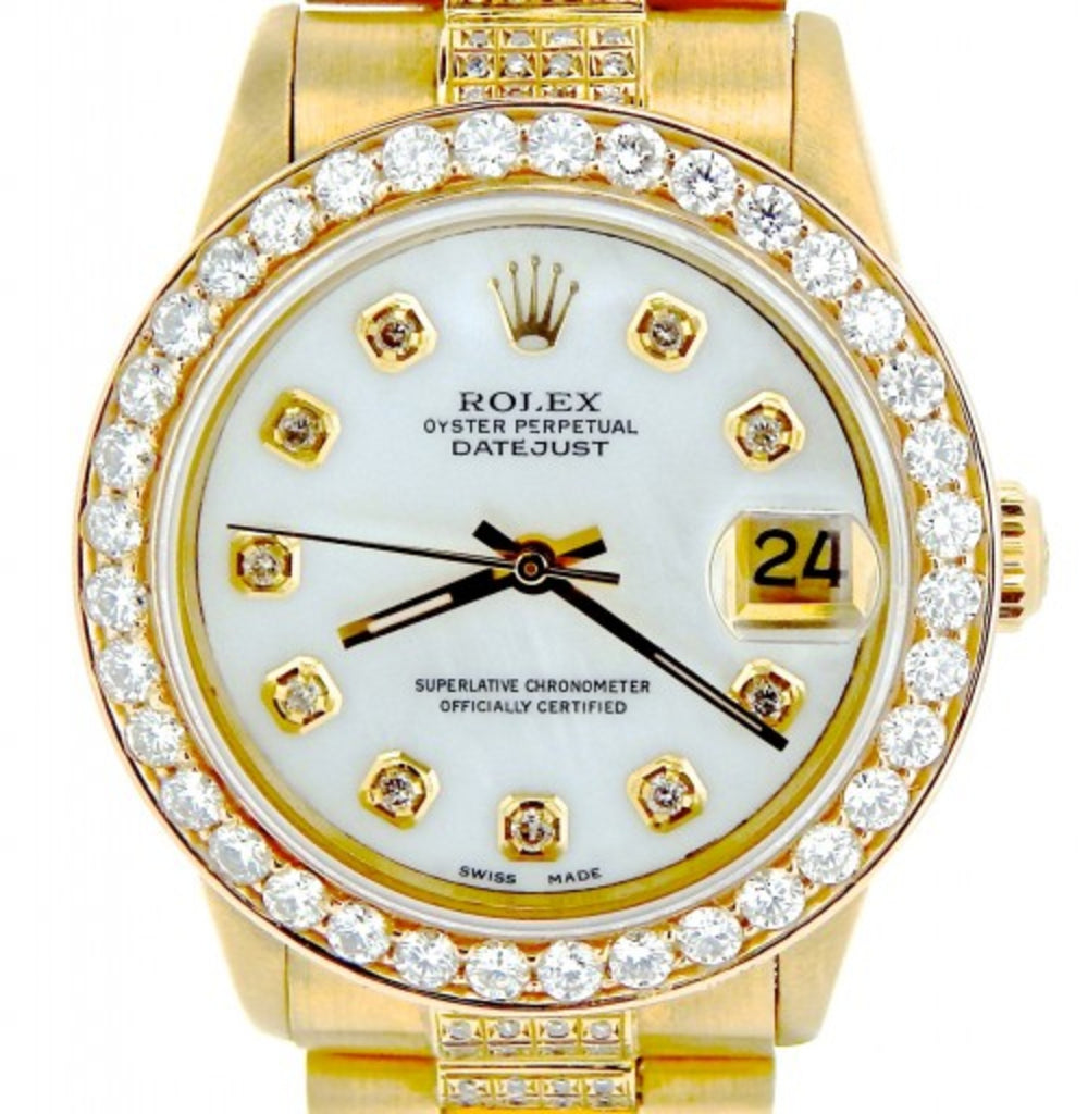 Pre Owned Mid Size Rolex Yellow Gold Datejust President White MOP Diamond 68278