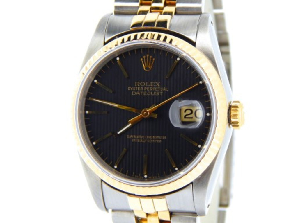 Pre Owned Mens Rolex Two-Tone Datejust with a Black Tapestry Dial 16233