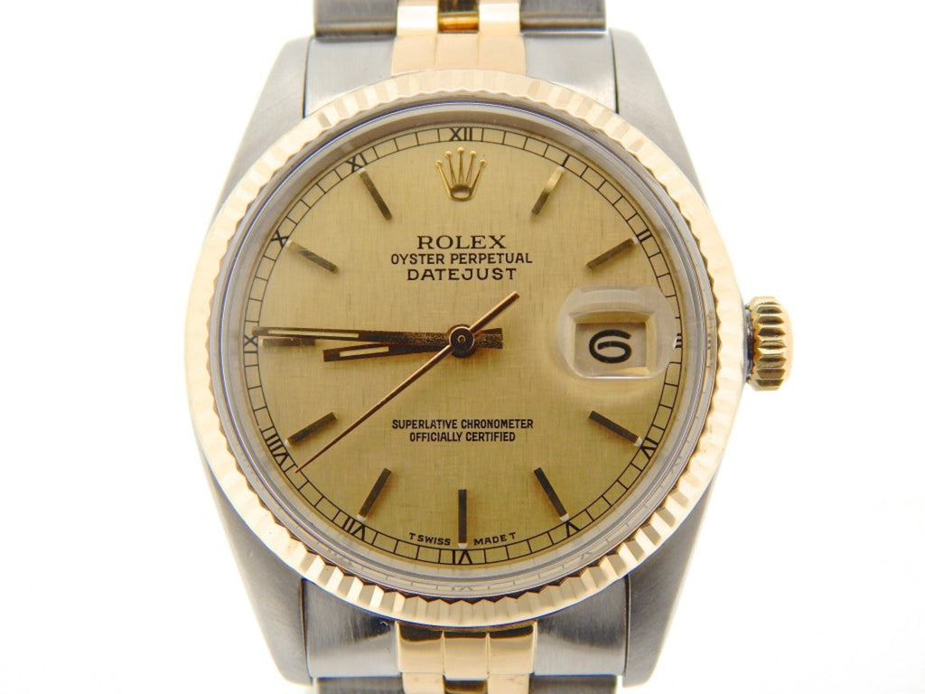 Pre Owned Mens Rolex Two-Tone Datejust with a Gold Linen Dial 16013