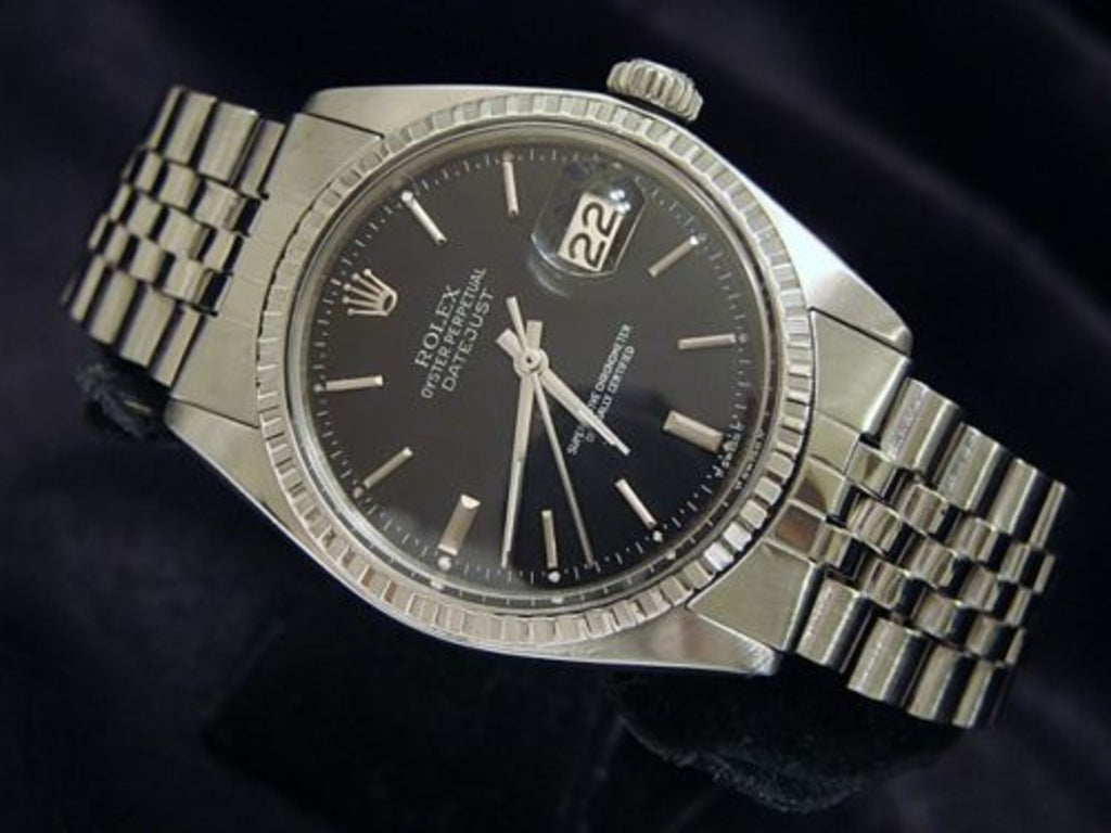 Pre Owned Mens Rolex Stainless Steel Datejust with a Black Dial 1603