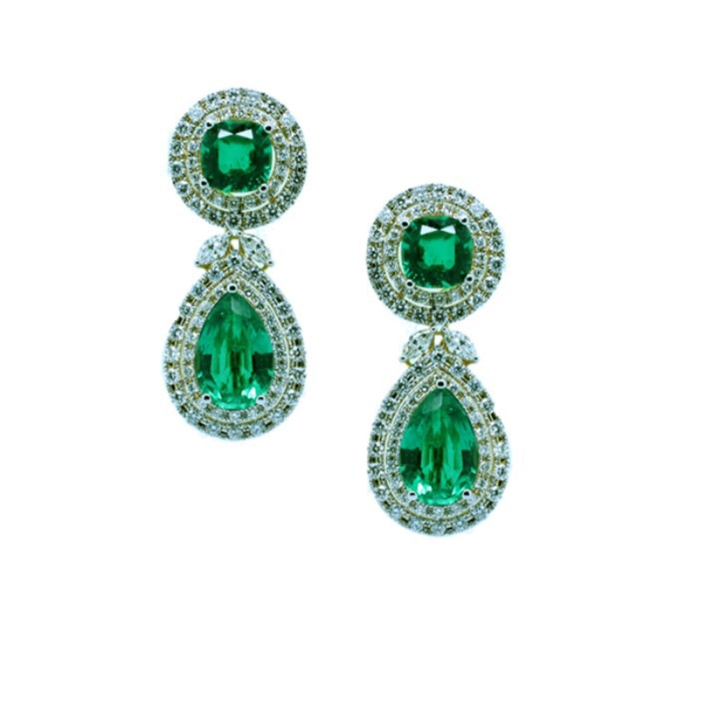 Fancy Emerald and Diamond Earrings