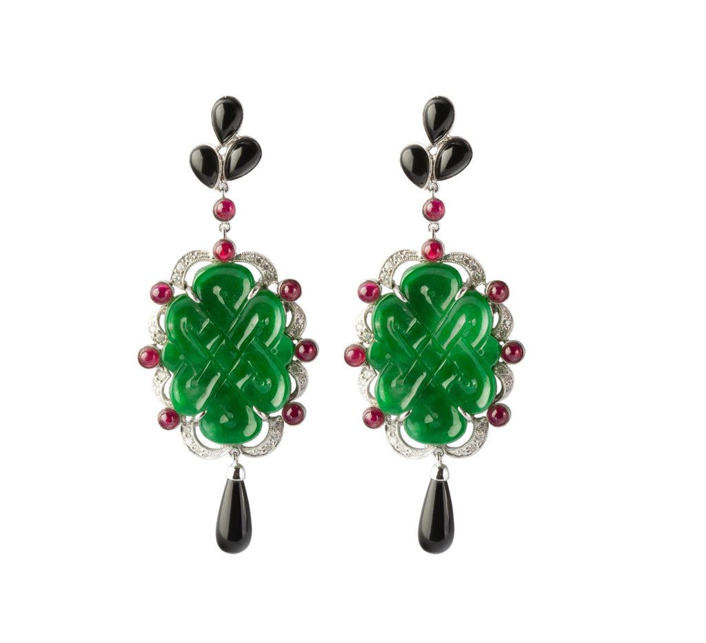 Carved jade Chinese tassel knot earrings