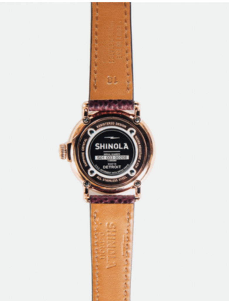 SHINOLA RUNWELL 36MM ROSE GOLD WATCH: BLUE/BROWN