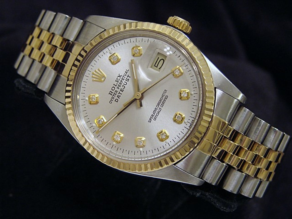Pre Owned Mens Rolex Two-Tone Datejust Silver Diamond 16013