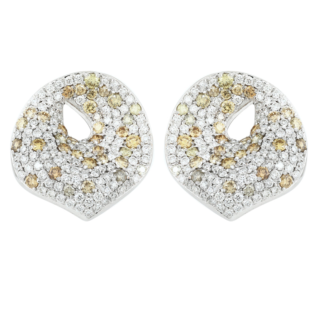 Fancy Diamond Button Earrings