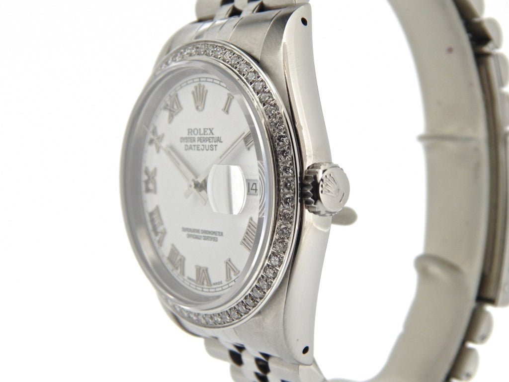 Pre Owned Mens Rolex Stainless Steel Datejust Diamond with a White Roman Dial 16