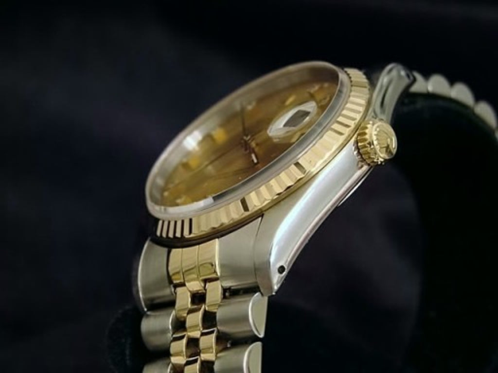 Pre Owned Mens Rolex Two-Tone Datejust with a Gold Diamond Dial 16233