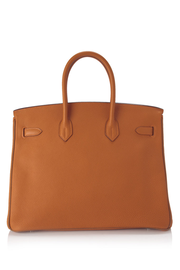 Pre-Owned Hermès Potiron and Gold Togo Birkin 35