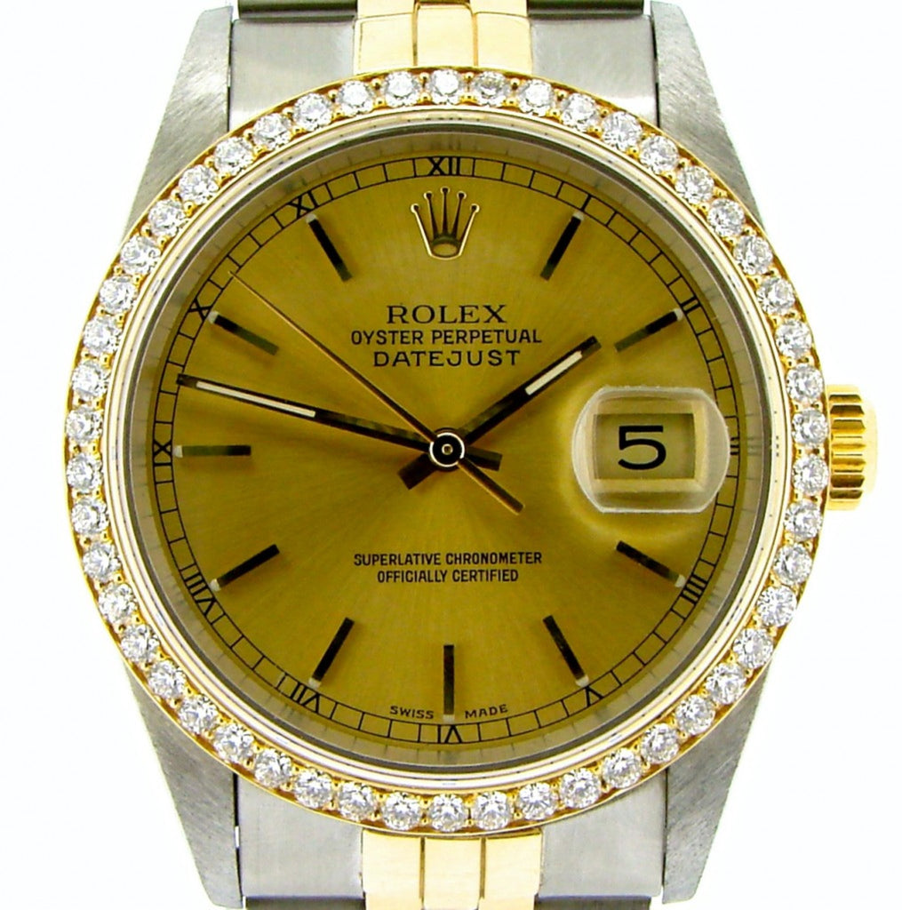 Pre Owned Mens Rolex Two-Tone Datejust Diamond with a Gold Dial 16233