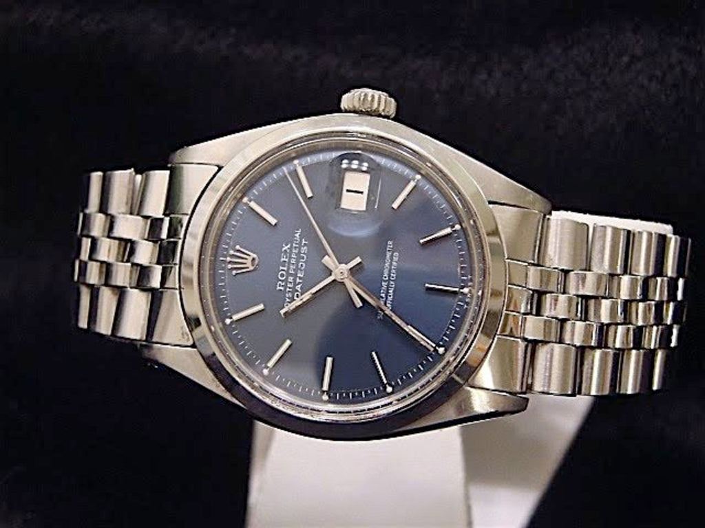 Pre Owned Mens Rolex Stainless Steel Datejust with a Blue Dial 1603