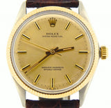 PRE OWNED MENS ROLEX TWO-TONE OYSTER PERPETUAL WITH A CHAMPAGNE DIAL 1005