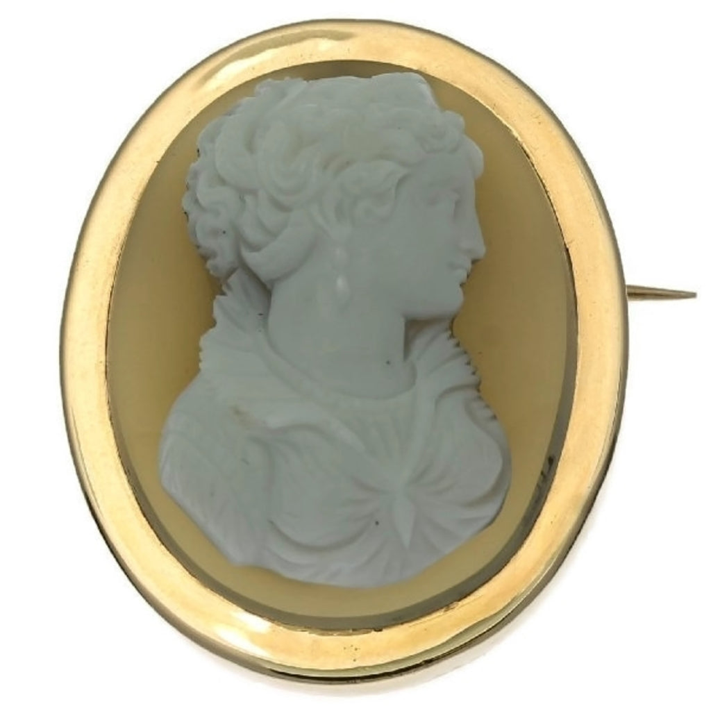 French Victorian hard stone cameo brooch