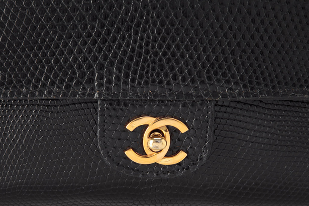 Vintage Pre-owned Chanel Lizardskin Leather Double Flap Bag