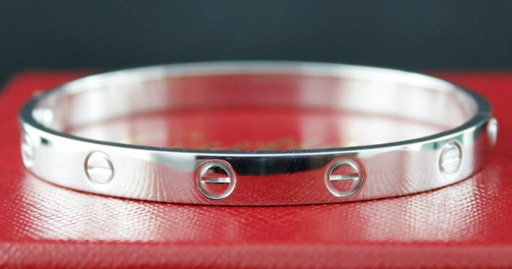 CARTIER 18K WHITE GOLD LOVE BANGLE SIZE 18