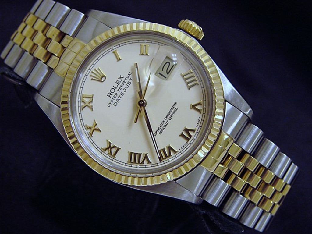 Pre Owned Mens Rolex Two-Tone Datejust with an Ivory Roman Dial 16013