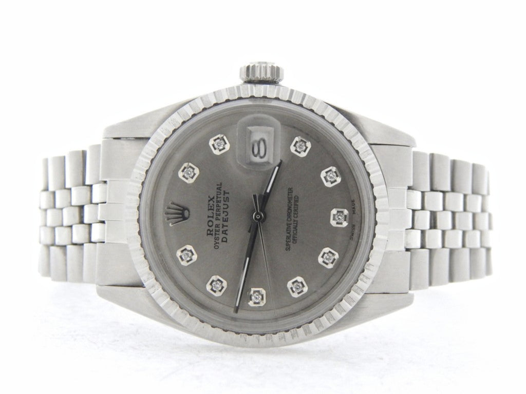Pre Owned Mens Rolex Stainless Steel Datejust with a Silver Diamond Dial 1603