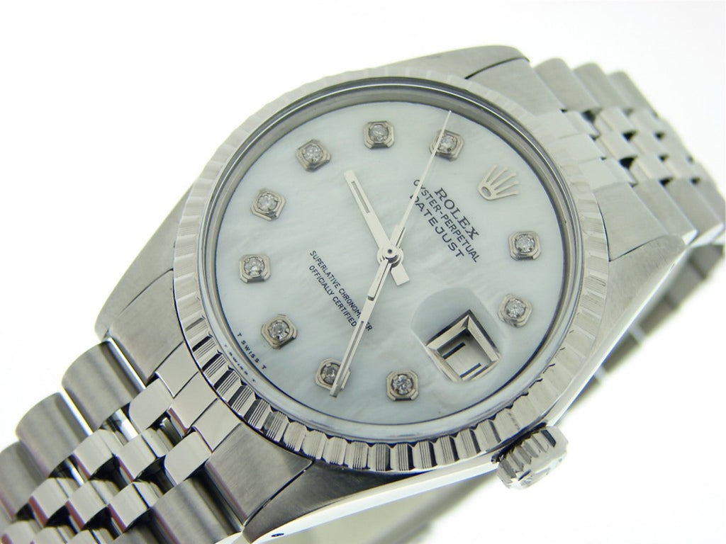Pre Owned Mens Rolex Stainless Steel Datejust with a White MOP Diamond Dial 1603