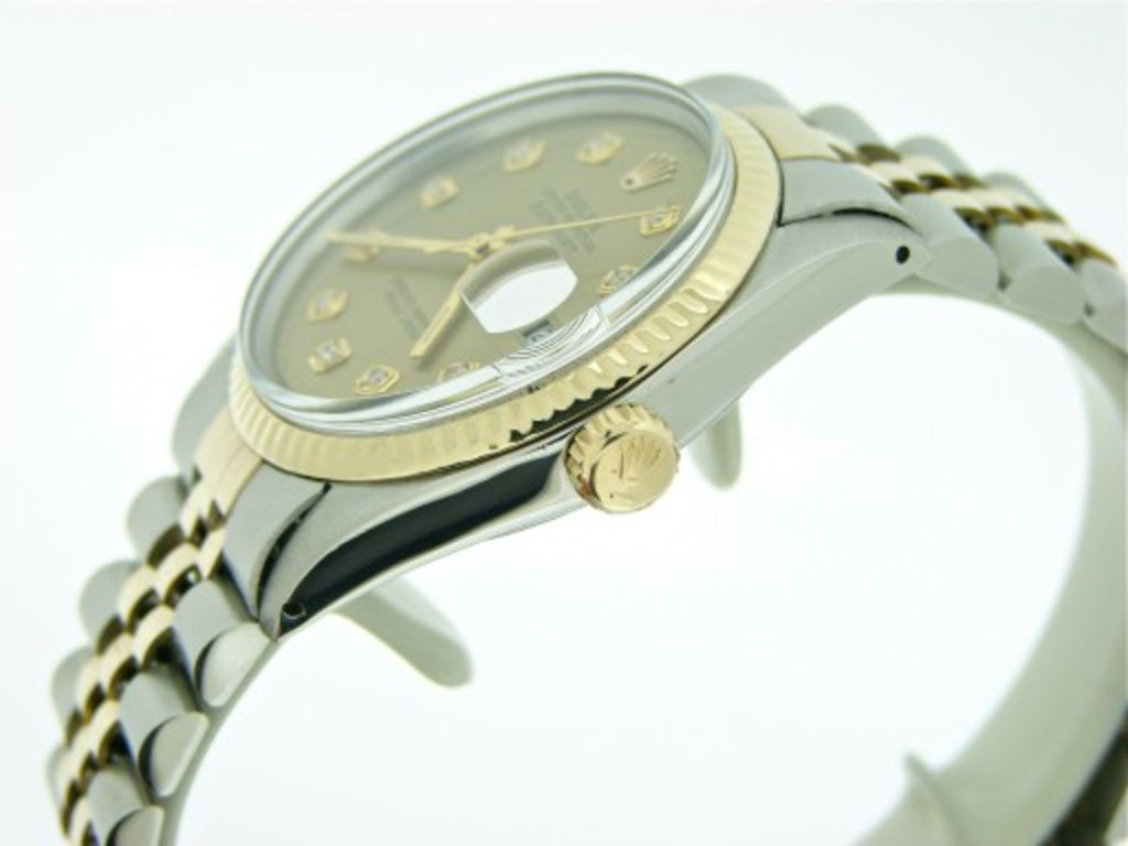 Pre Owned Mens Rolex Two-Tone Datejust with a Gold Diamond Dial 16013