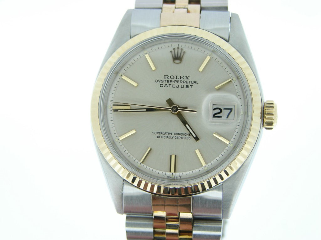 Pre Owned Mens Rolex Two-Tone Datejust with a Silver Dial 1601
