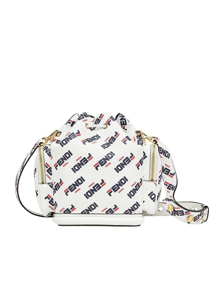 X Fila Mon Tresor Mania Logo White Leather Bucket Bag