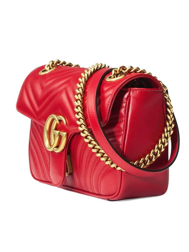 GG Marmont Small Matelasse Red Leather Shoulder Bag