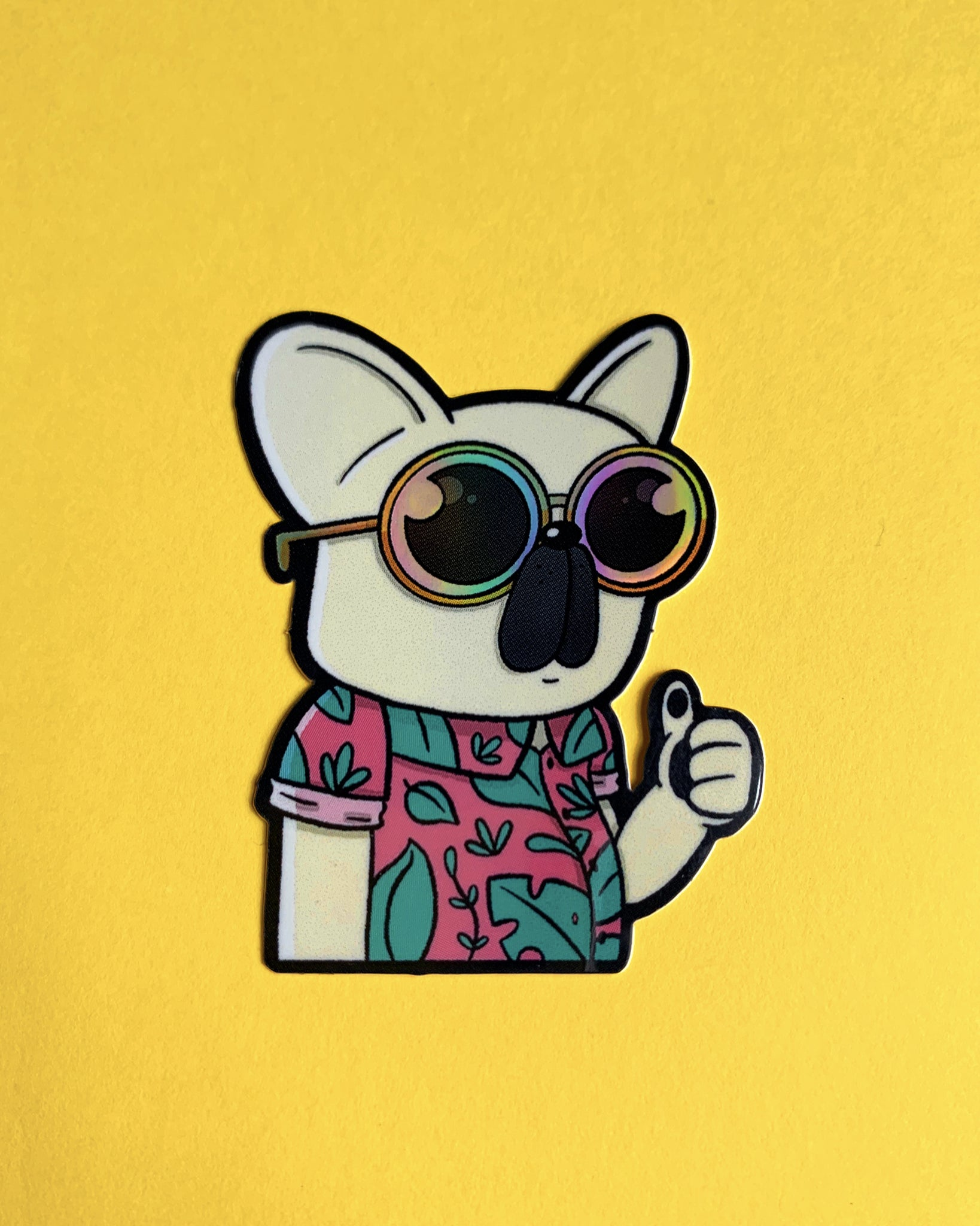 Holographic Frenchie Sticker