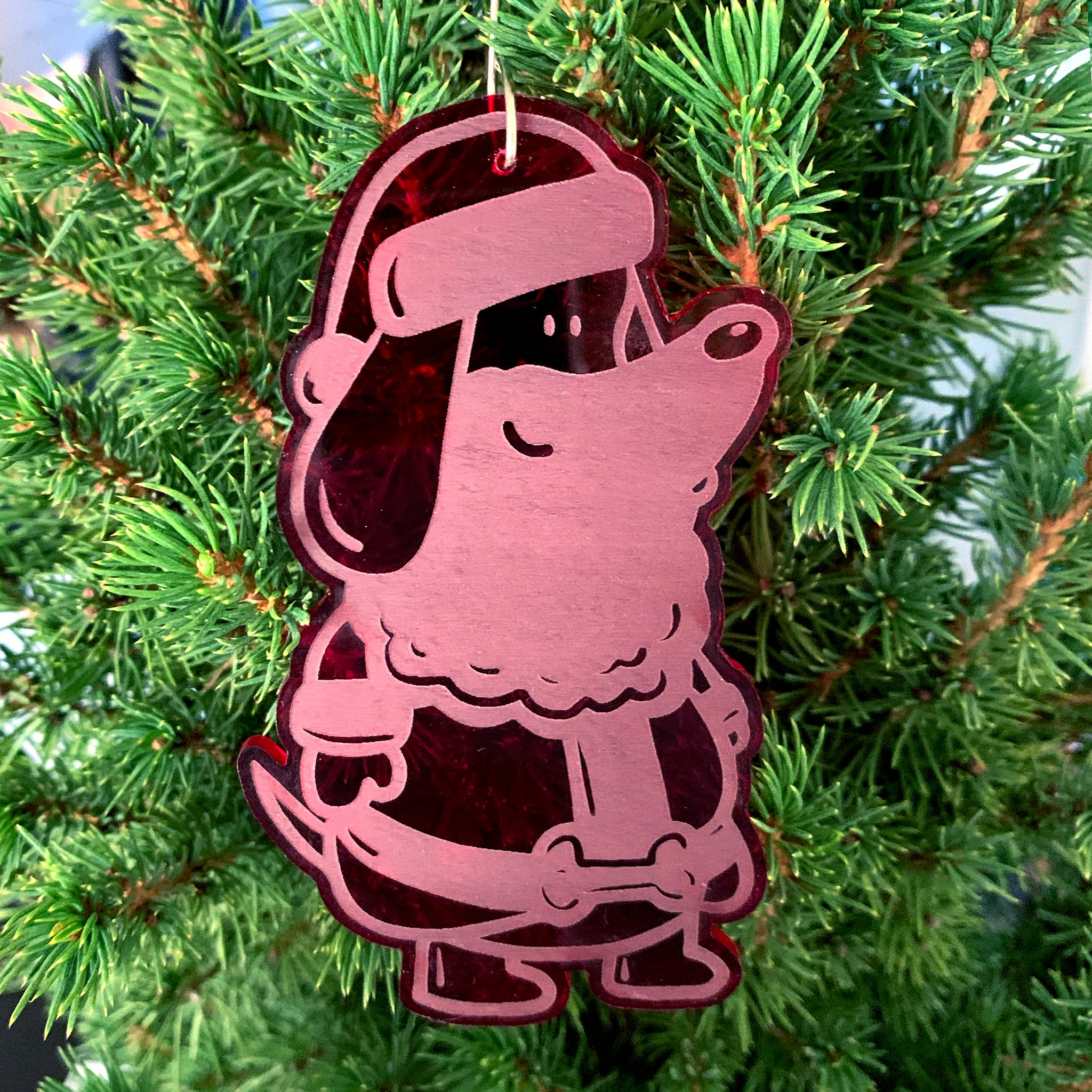 Red Acrylic 'Santa Paws' Ornament