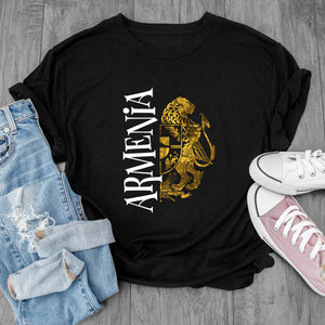 Golden Lion Armenian Coat of Arms Black  T-Shirts