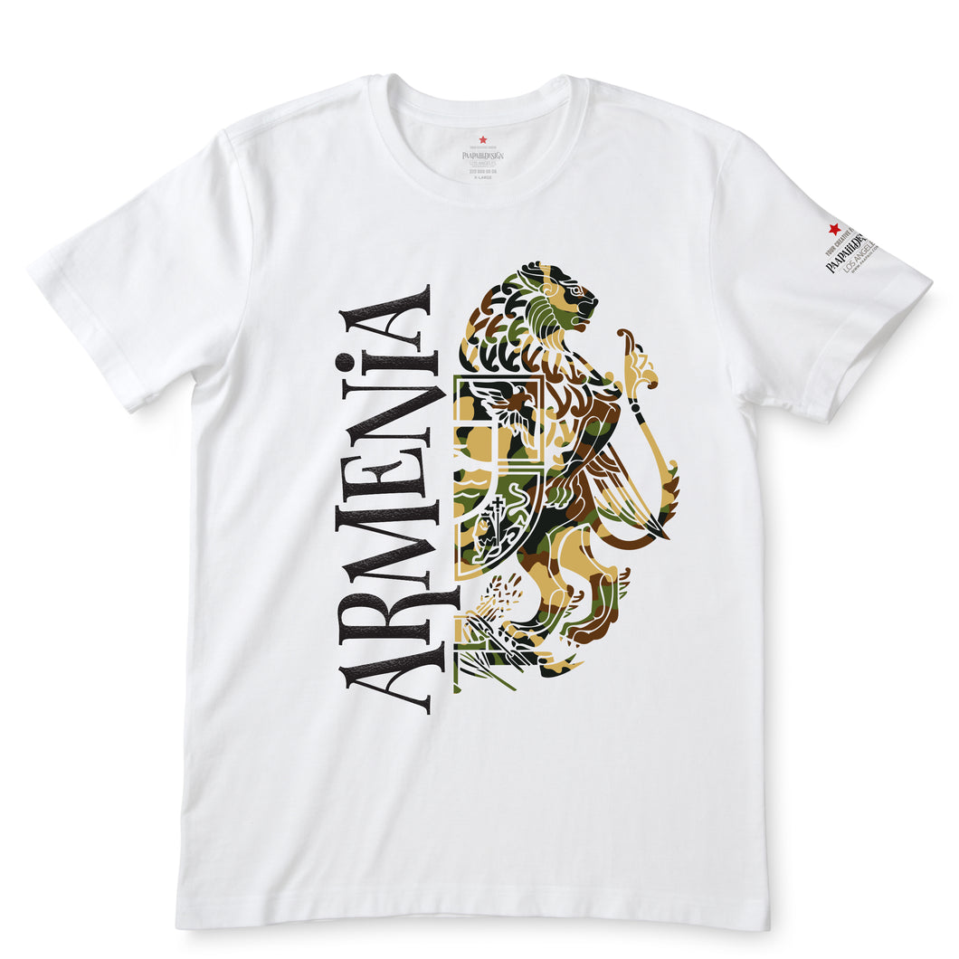 Armenia Camo Coat of Arm White T-Shirts
